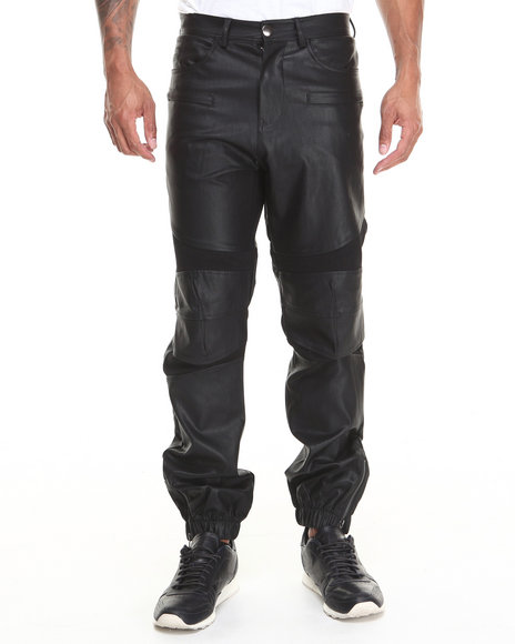 Kite Club - Men Black Biker Faux Leather Pant