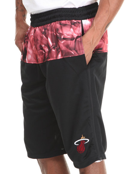 Nba, Mlb, Nfl Gear - Men Black Miami Heat Emerald Drawstring Shorts - $12.99