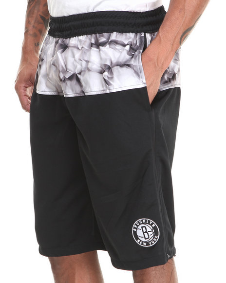 Nba, Mlb, Nfl Gear - Men Black Brooklyn Nets Emerald Drawstring Short
