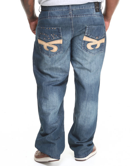 Basic Essentials - Men Medium Wash Studded Denim Jeans (B&T)