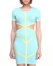Dresses - Colorblock Mod Cutout Dress