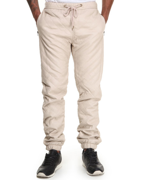 Kite Club - Men Cream Quilted Faux Leather Jogger
