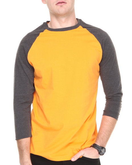 Basic Essentials - Men Charcoal,Orange 3/4 Sleeve Raglan Tee