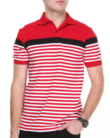 Buyers Picks - Men Red Yarn Dyed Engineered Stripe Pique Polo Shirt
