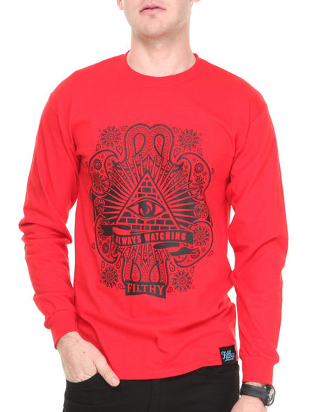 Filthy Dripped - Men Red Always Watching L/S T-Shirt
