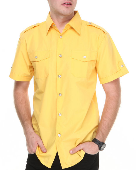 Basic Essentials - Men Yellow Short Sleeve Woven Shirt