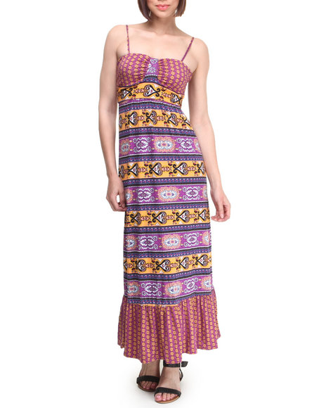 Rampage - Women Purple Border Print Maxi Dress - $12.99