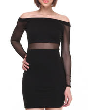 Dresses - Off the Shoulder Mesh Insert Dress