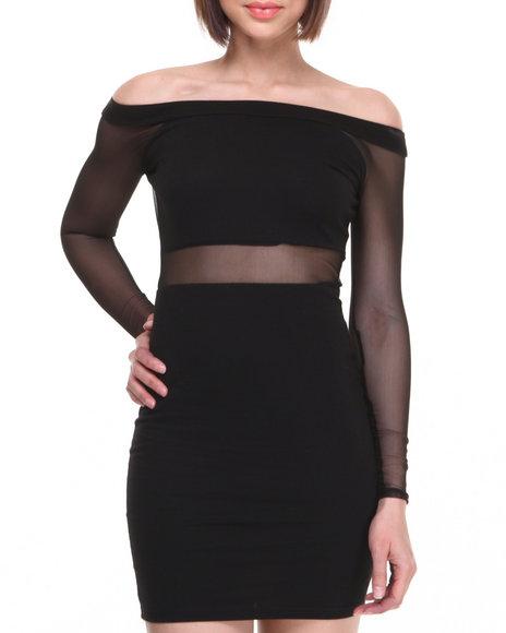 Baby Phat - Women Black Off The Shoulder Mesh Insert Dress