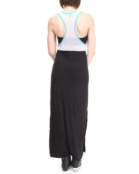 Rampage Black Mesh Racerback Tube Bra Maxi Dress