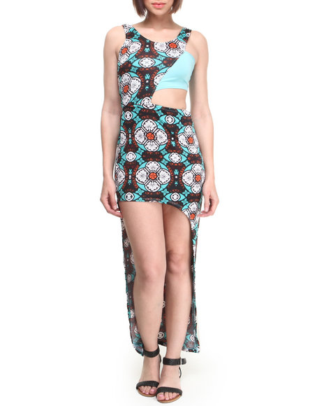 Baby Phat - Women Multi, Teal High-Low Hem Tube Top Dress