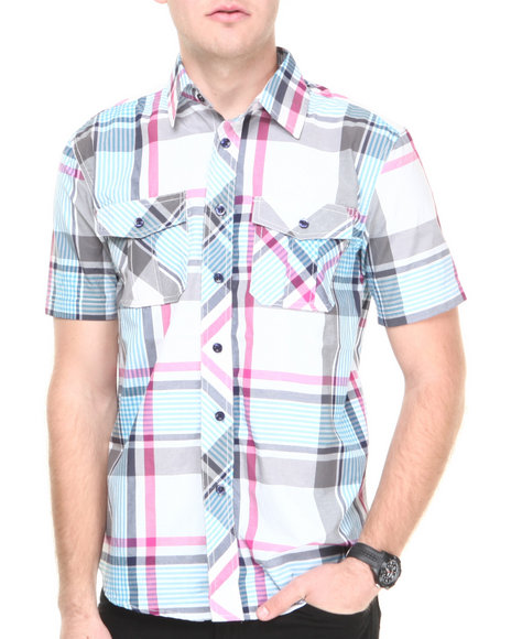 Buyers Picks - Men Purple Brooklyn Plaid S/S Button Down Shirt