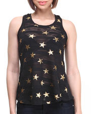 Tops - Shadow Stripes Foil Stars Knit Tank