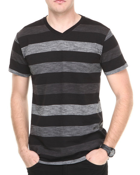 Buyers Picks - Men Black Slub Jersey V-Neck Tee