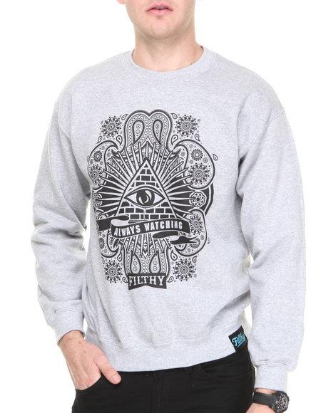 Filthy Dripped Grey Always Watching Crew Sweatshirt