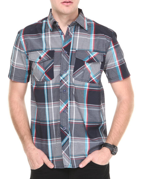 Buyers Picks - Men Navy Rebel Plaid S/S Button Down Shirt