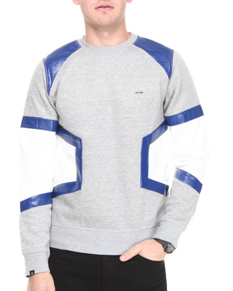 Kite Club - Men Grey Ron Block Crewneck Sweatshirt