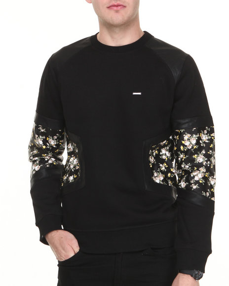 Kite Club - Floral Crewneck Faux Leather Trimeed Sweatshirt