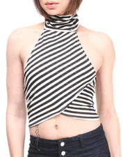 Women - Stripe Mock Neck Halter Top