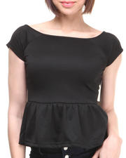 Women - Off the Shoulder Zip Back Peplum Top