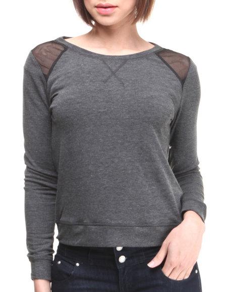 Rampage Black Terry Mesh Insert Stretch Sweatshirt