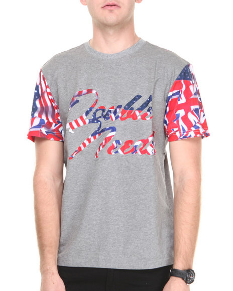 Double Needle Grey Waving Flag Tee