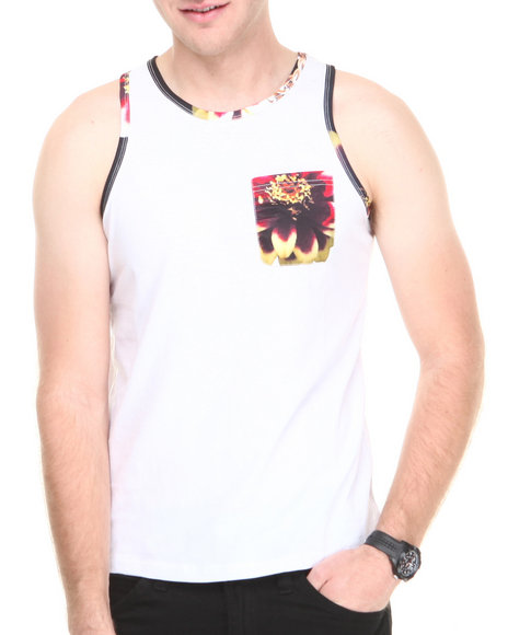 Double Needle - Men White Rosegold Pocket Tank Top
