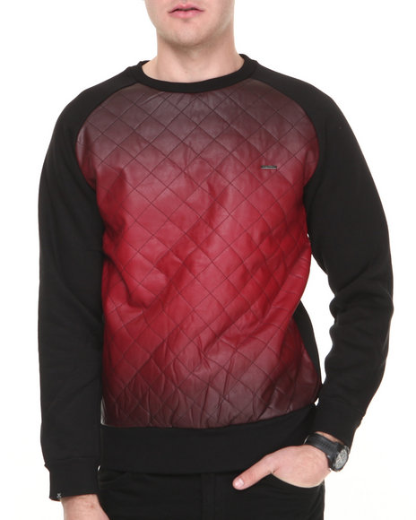 Kite Club Black,Red Red Faded Quilted Crewneck Sweatshirt