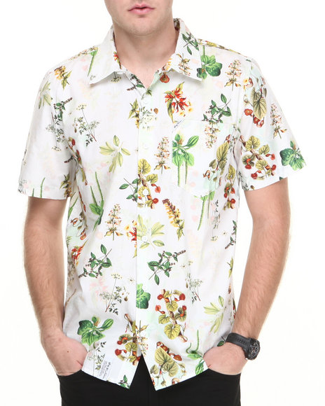 Lrg - Men White Botanist S/S Button-Down