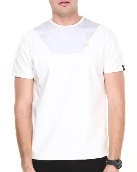 Well Established - Men White Rain Drop Sublimation Tee W/ Vegan Leather Accents