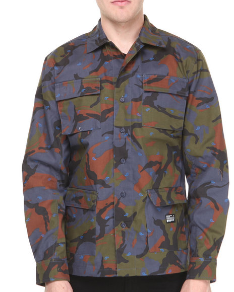 Crooks & Castles - Men Camo Killstreak Mixed Camo L/S Button-Down