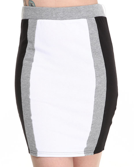 Baby Phat - Women Black,White Colorblock Active Skirt
