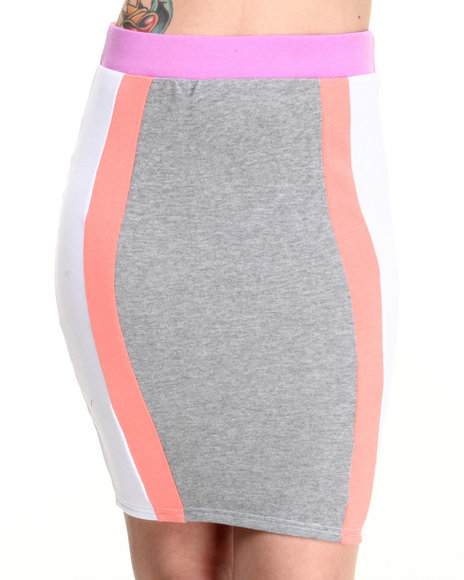 Baby Phat - Women Multi,Pink,White Colorblock Active Skirt