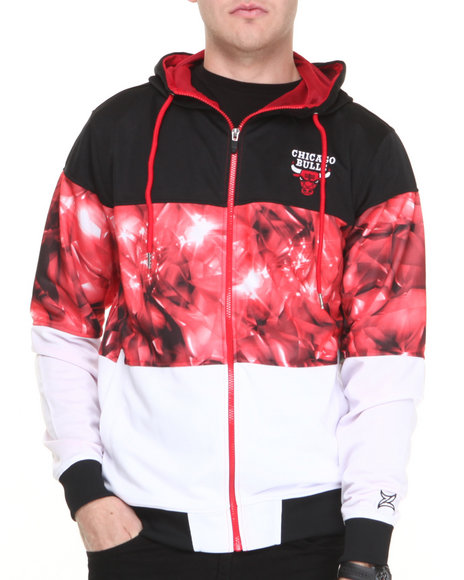 Nba, Mlb, Nfl Gear - Men Black,Multi Chicago Bulls Brilliant Zip Up Hoodie - $36.99
