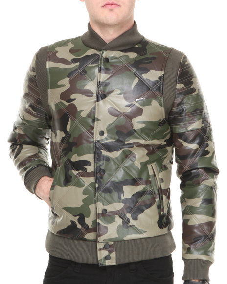 Kite Club - Men Camo Dmd Quilted Faux Leather Jacket