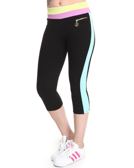 Baby Phat - Women Black,Multi Colorblock Zip Trim Active Capri