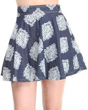 Women - Chambray Indie Print  Skater Skirt