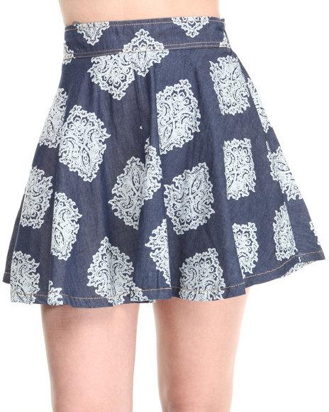 Rampage Dark Wash Chambray Indie Print Skater Skirt