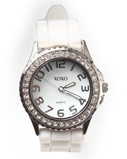 XOXO - Rubber Bling Band Round Face Watch