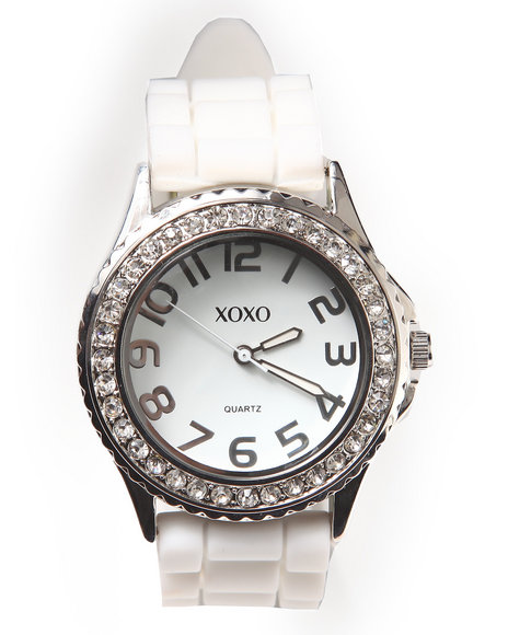 Xoxo Women Rubber Bling Band Round Face Watch White