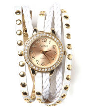 Women - Double Strap White Gold Leather Grommet Watch