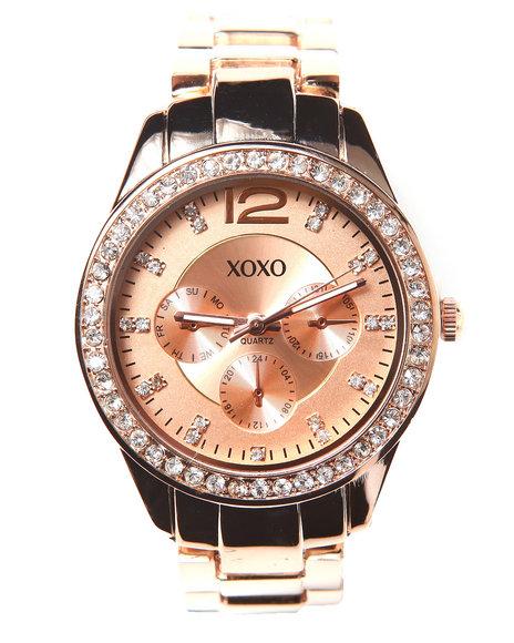 Xoxo Rose Gold Bling Face Metal Watch Rose Gold