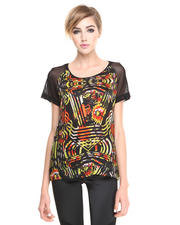 Blouses - Mesh Graphic Flower Top