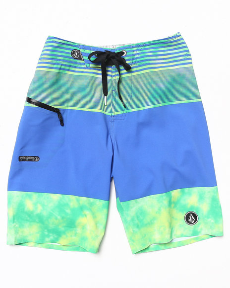 Volcom Boys Green Linear Mod Boardshorts (8-20)