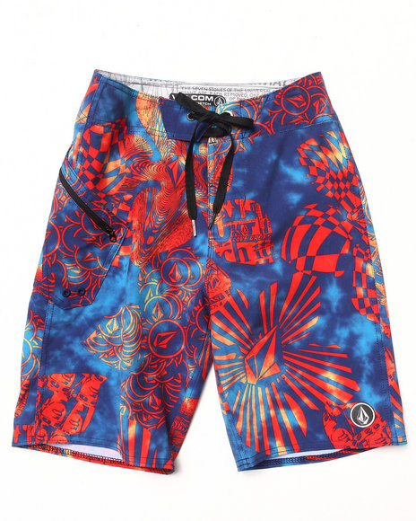 Volcom Boys Blue Lido Weedo Boardshorts