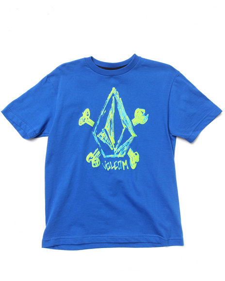 Volcom Boys Blue Cross Scribble Tee (8-20)
