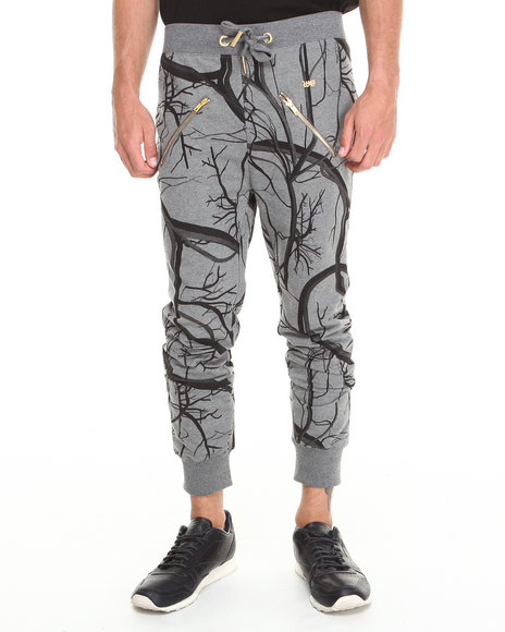 Well Established Grey Vessel Print Zipper Detail Sweatpant