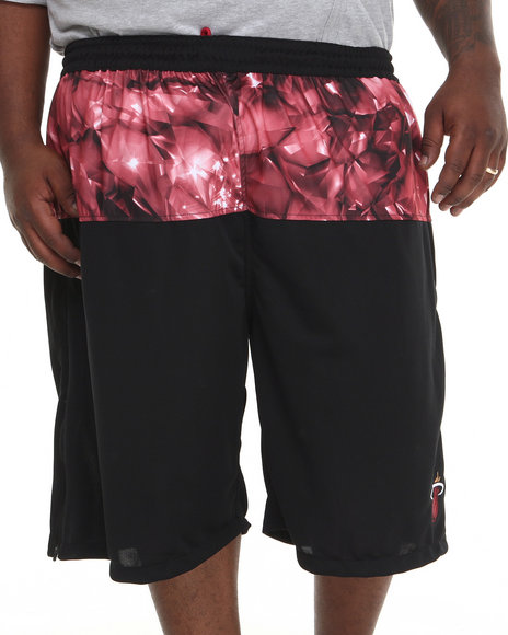 Nba, Mlb, Nfl Gear - Men Black Miami Heat Emerald Drawstring Shorts (B&T)