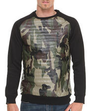 Sweatshirts & Sweaters - Black/camo Quilted fleece crewneck sweatshirt