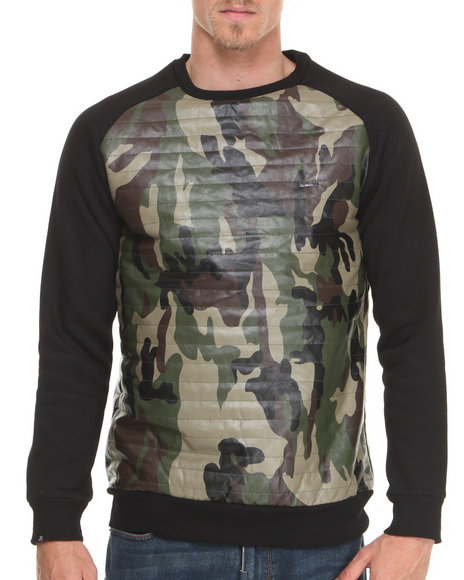 Kite Club - Men Black Black/Camo Quilted Fleece Crewneck Sweatshirt